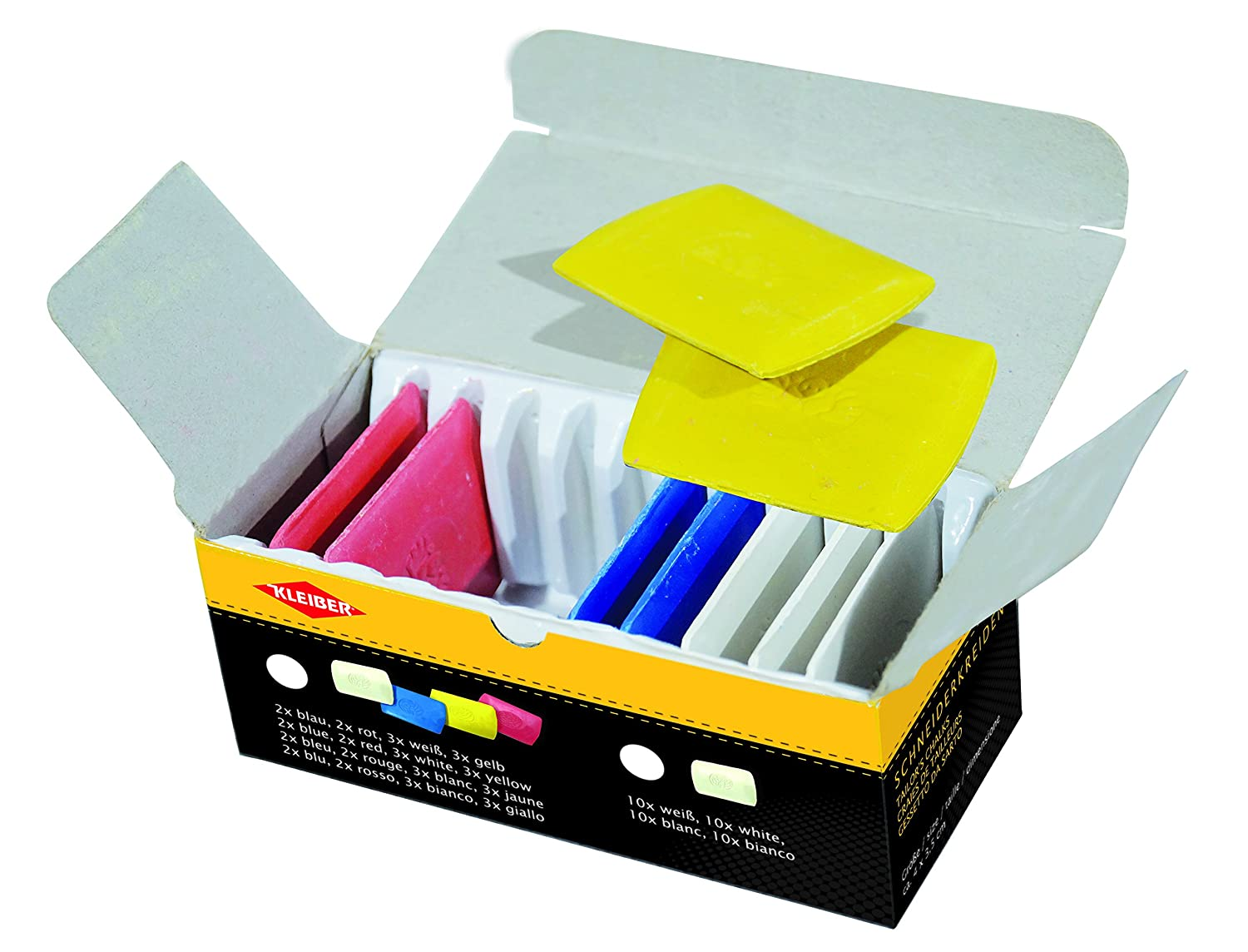 Kleiber Tailor's Chalk Triangles, White/Yellow/Red/Blue, Pack of 10
