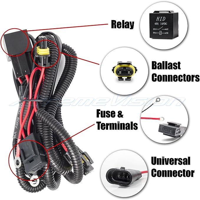 Amazon.com: XtremeVision Universal HID Battery Wiring Relay Harness 12V 40  AMP 35W/55W - H1 H3 H7 H8 H9 H10 H11 9005 9006 5202 880 881 9140 9145:  AutomotiveAmazon.com