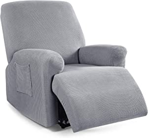 Recliner Cover 4-Pieces, TAOCOCO Recliner Stretch Sofa Slipcover Recliner Cover 1 Seater Couch Protector Soft Furniture Protector Covers with Elastic Chair Covers Jacquard Pattern (Dusty Grey)