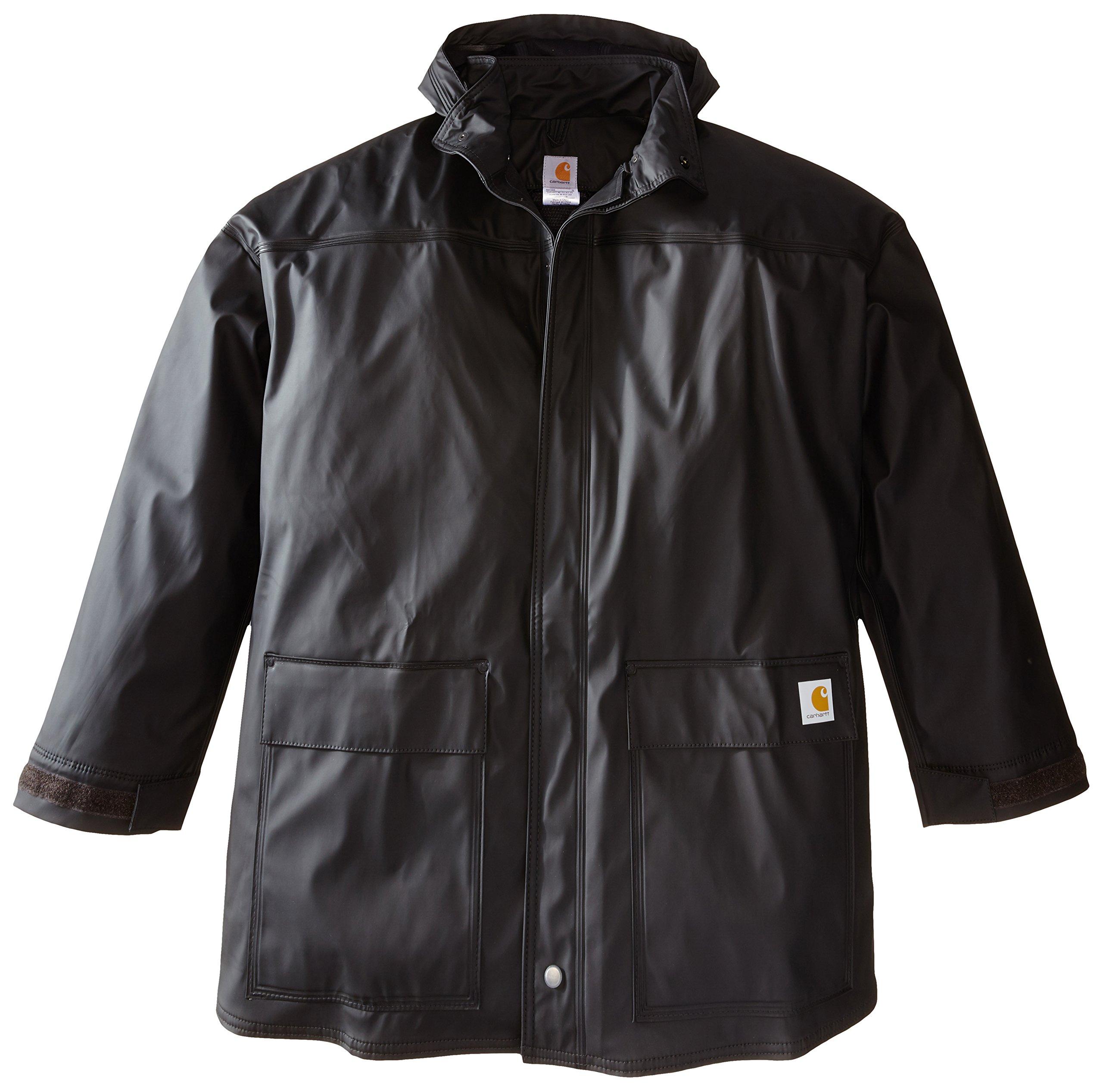 Carhartt Men's Big & Tall Medford Rain Defender Coat,Black,XXX-Large Tall