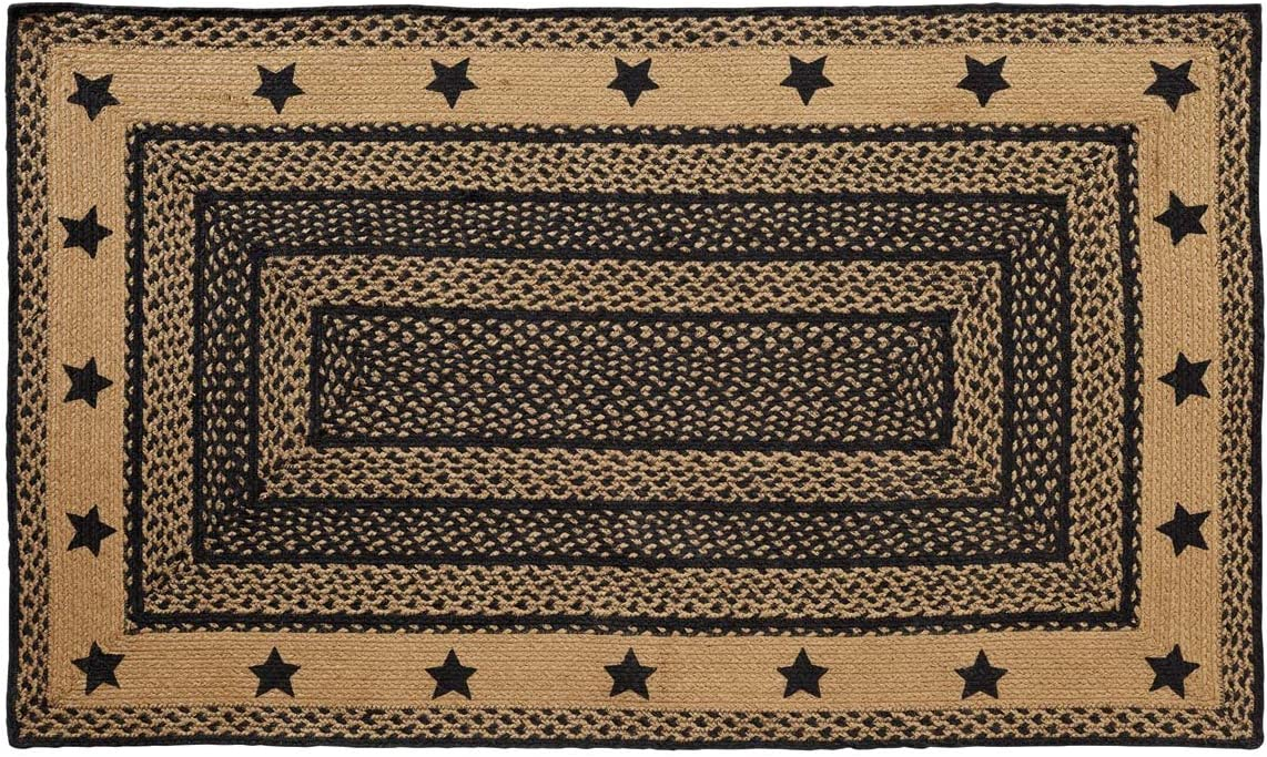VHC Brands Farmhouse Jute Stencil Stars Border Rectangular Rug 36×60 Country Braided Flooring, Country Black and Tan