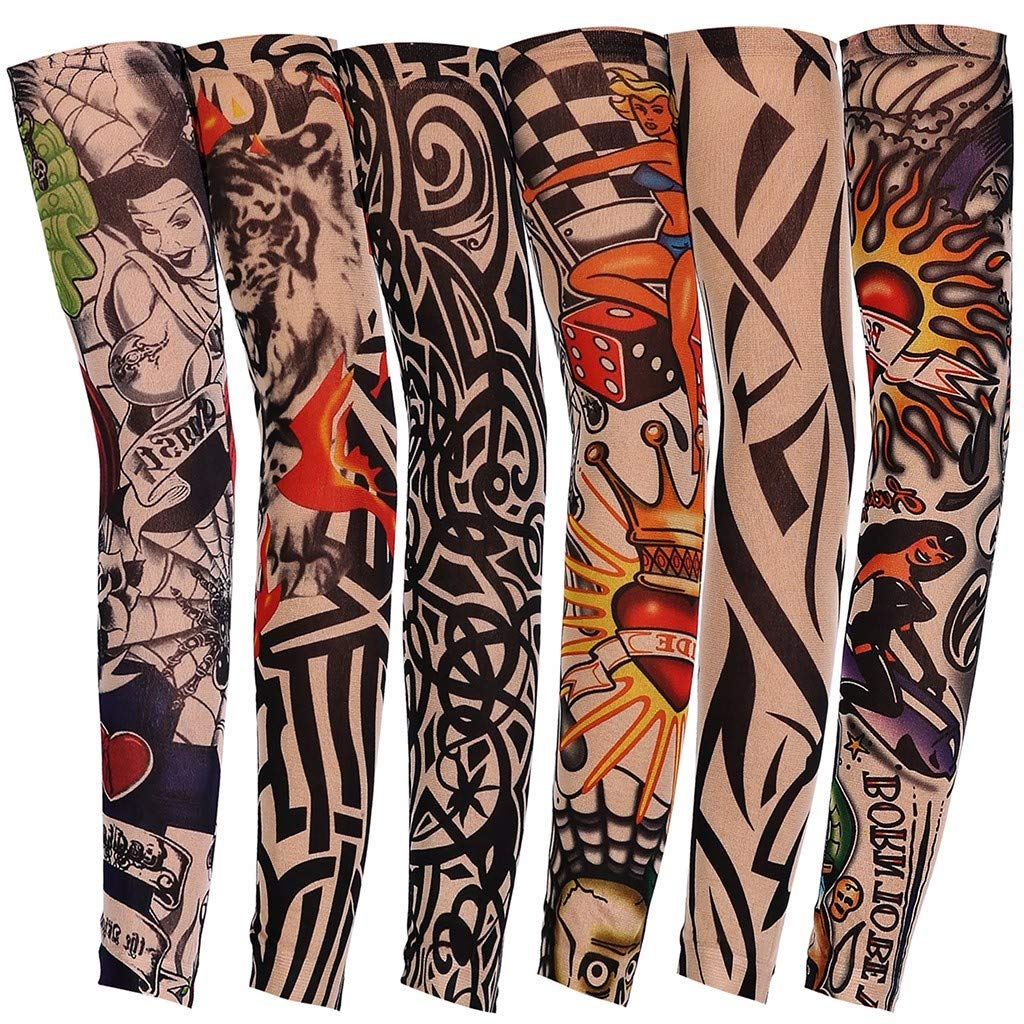 KEERADS 7Pcs Cycling Tattoo Arm Sleeves Sun UV Protection Stretch Cover Cycling Driving Costume Protection Cooling Sun Sleeves