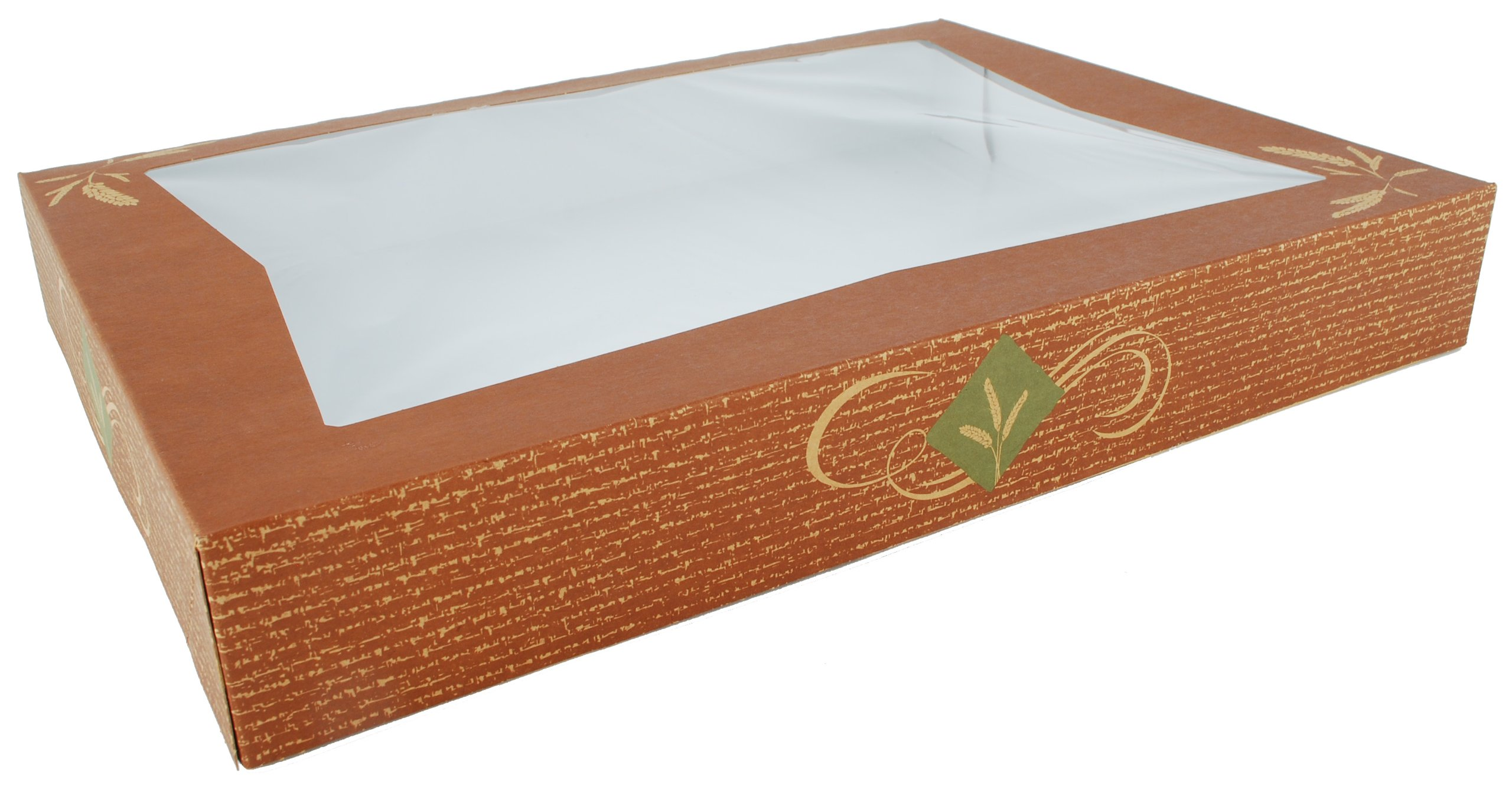 Southern Champion Tray 24546 Clay Coated Kraft Paperboard Hearthstone Window Bakery Box, 16'' Length x 12'' Width x 2-1/4'' Height (Case of 100)