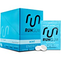 RUN GUM Mint Energy Gum 50mg Caffeine Taurine & B-Vitamins Per Piece, 24 Pieces (Pack of 12), 2 Pieces = 1 coffee or Energy drink, Sugar Free, Zero Calorie