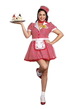 274bce44513 Amazon.com  Dreamgirl Women s Plus-Size Diner Doll Waitress Costume ...
