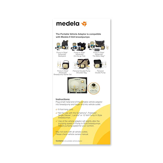 Medela Breast Pump Car Charger, 9 Volt Vehicle Adaptor, Authentic Medela Spare Part, Compatible with all 9V Pump in Style Advanced Breastpumps