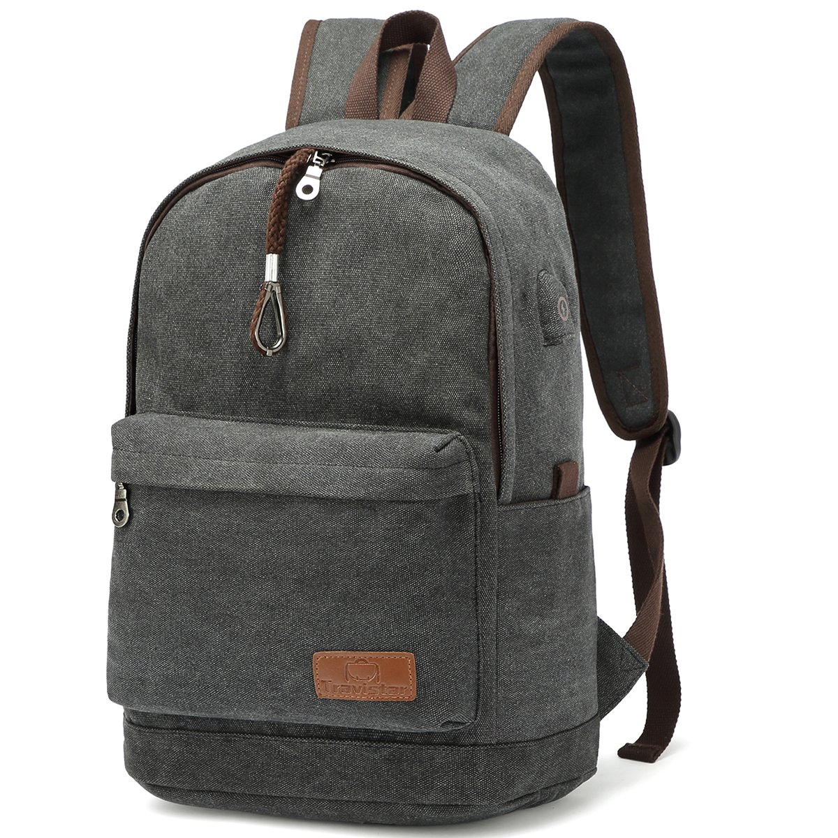 "Canvas School Backpack Travel Laptop Bag with USB Charging Port 15.6""Laptop"