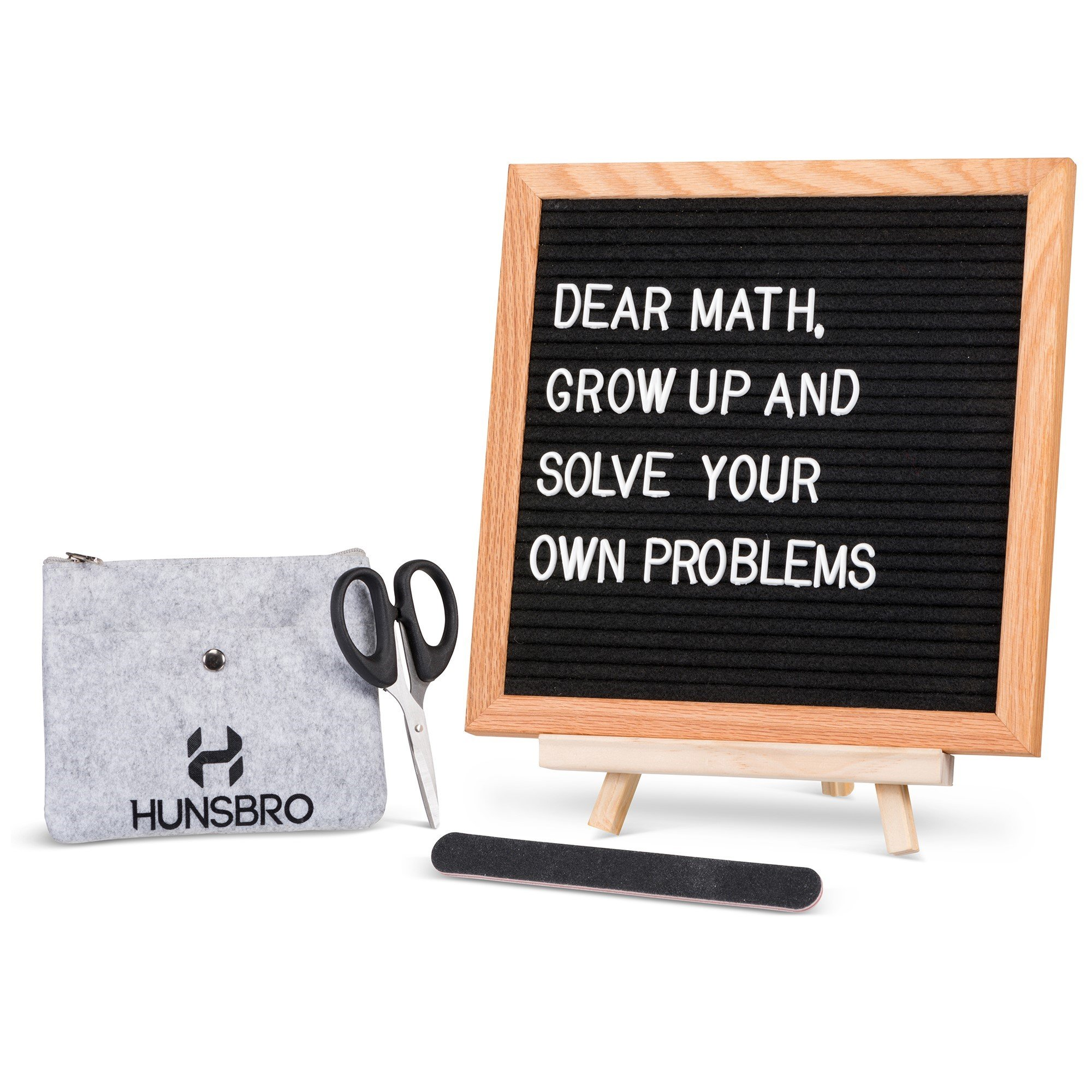 Felt Changeable Letter Board 10''X10'' with Stand Superior Felt Board in Beautiful Oiled Oak Frame - 362 White Letters Numbers and Special Characters with Emojis - Bonus Character Pouch and Wood Stand