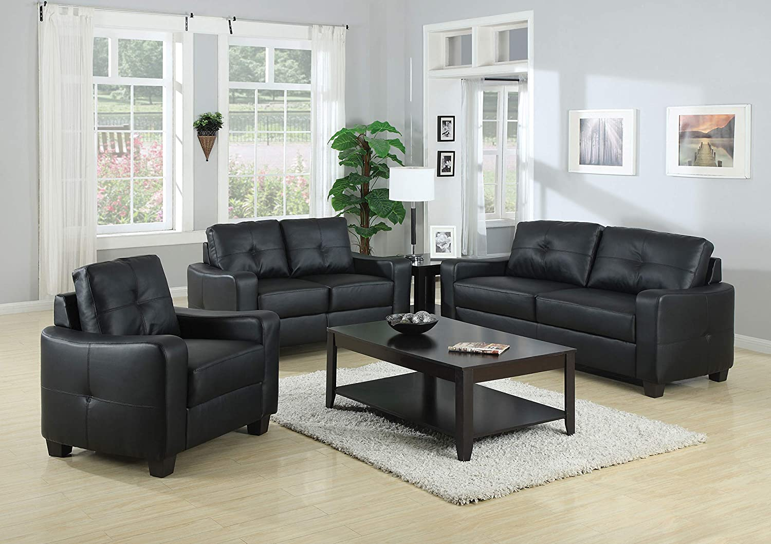 Amazon.com: Coaster Home Furnishings 3-Pc Sofa Set in Brown ...