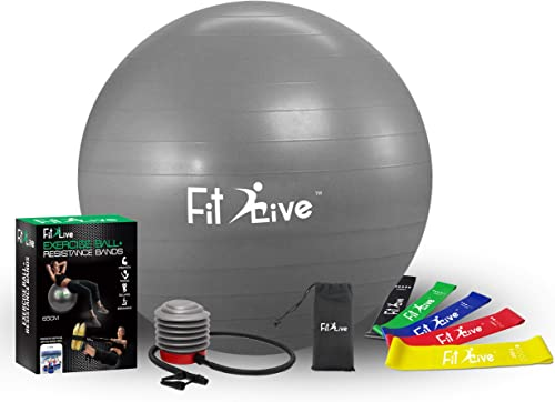 Fit2Live Exercise Ball for Yoga,Stability,Fitness, Free Resistance Bands, 2 in 1 Exercise Package- Anti Burst Quality – Includes Foot Pump and Access to Our APP for Workout Videos.