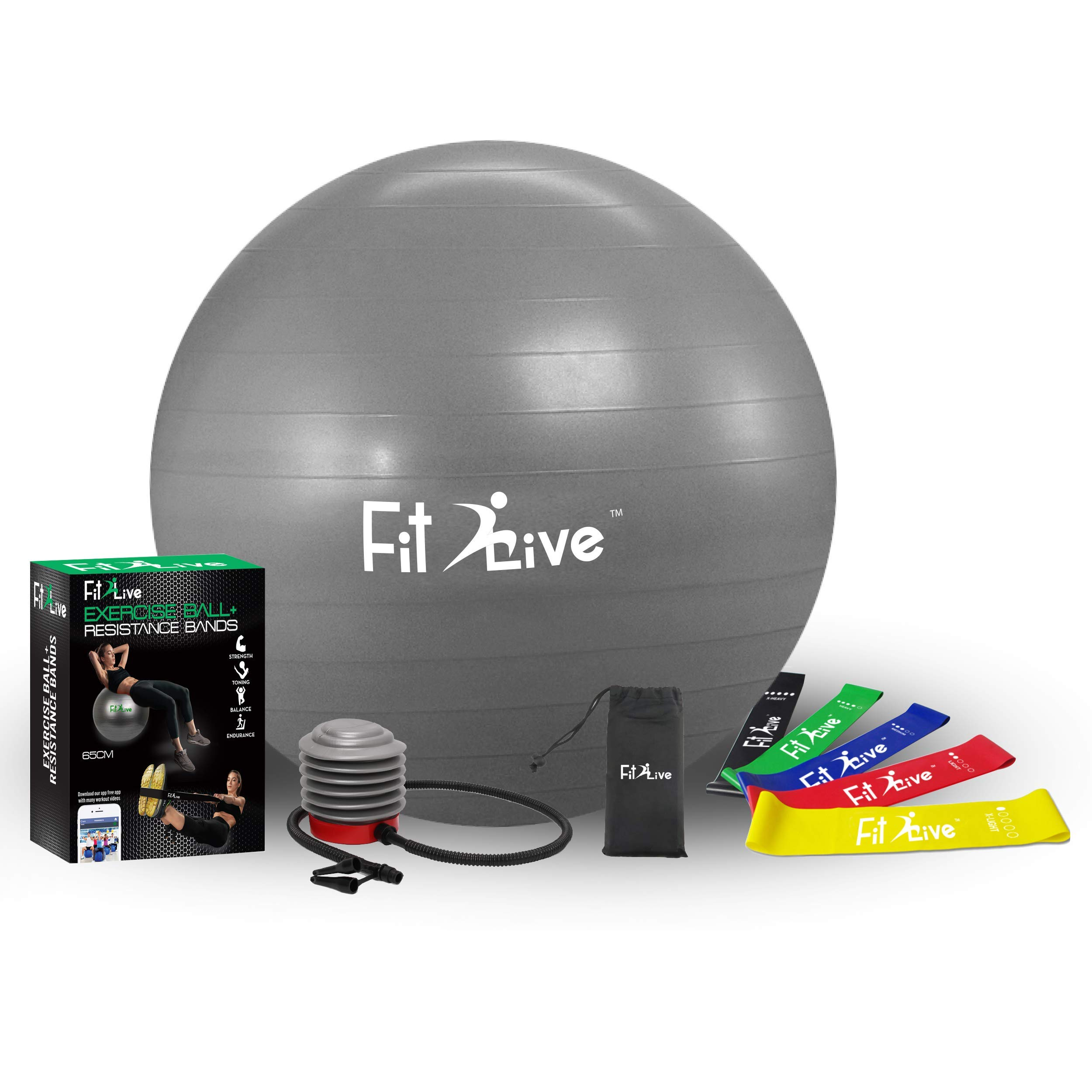Fit2Live Exercise Ball for Yoga,Stability,Fitness,+ Free Resistance Bands, 2 in 1 Exercise Package- Anti Burst Quality - Includes Foot Pump and Access to Our APP for Workout Videos.