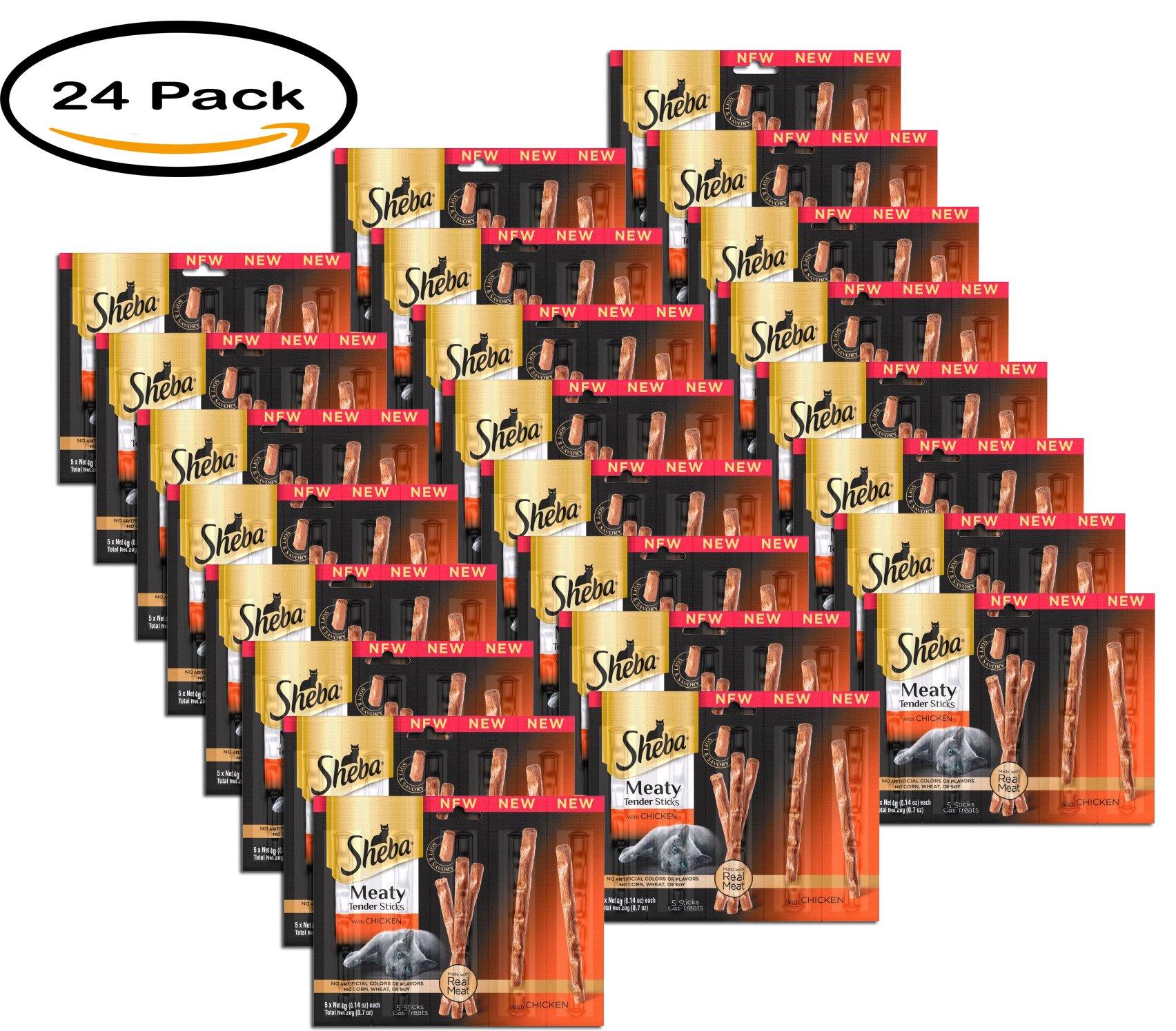 PACK OF 24 -SHEBA Meaty Tender Sticks With Chicken Cat Treats - 0.7 Ounces (5 Treats)