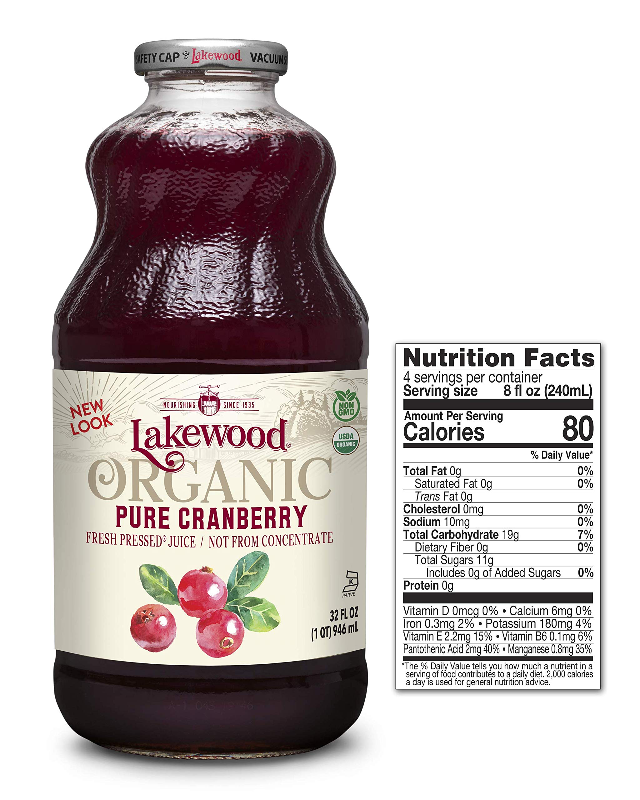 Lakewood Pure Cranberry, Fresh Pressed (32 Oz, 6 Pack)