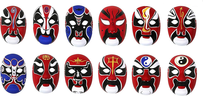 HorBous 3 Pack máscara de fiesta de máscara de ópera de Pekín, máscara de Halloween, máscara de decoración de pared: Amazon.es: Ropa y accesorios
