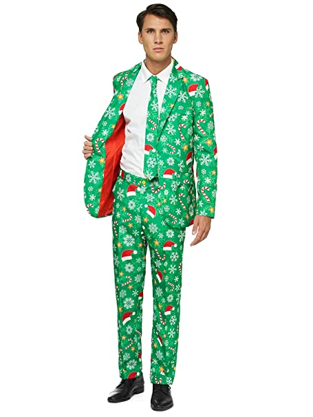 Christmas Sweater Suit.Offstream Ugly Christmas Suits For Men In Different Prints Xmas Sweater Costumes Include Jacket Pants Tie