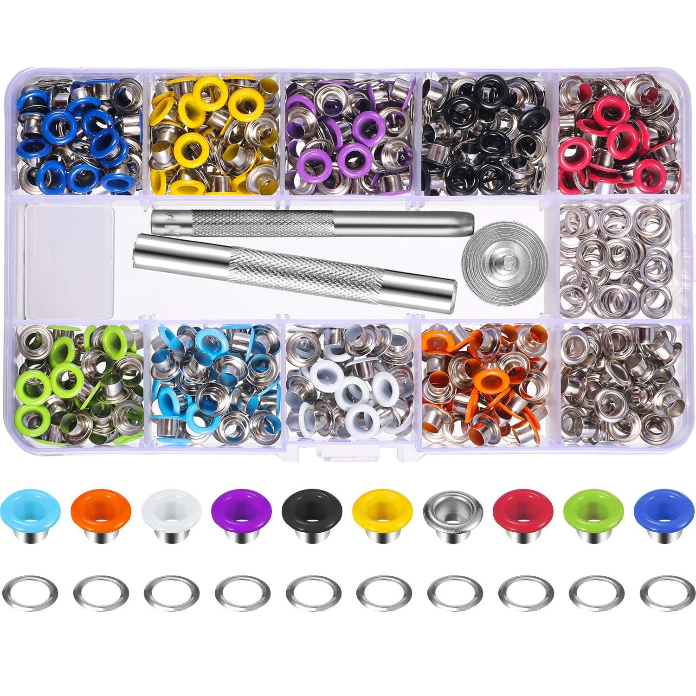 400 Juegos 3//16 Pulgada Kit de Ojales de Multicolor Ojetes de Metal con Herramientas de Instalaci/ón y Instructor en Caja Transparente