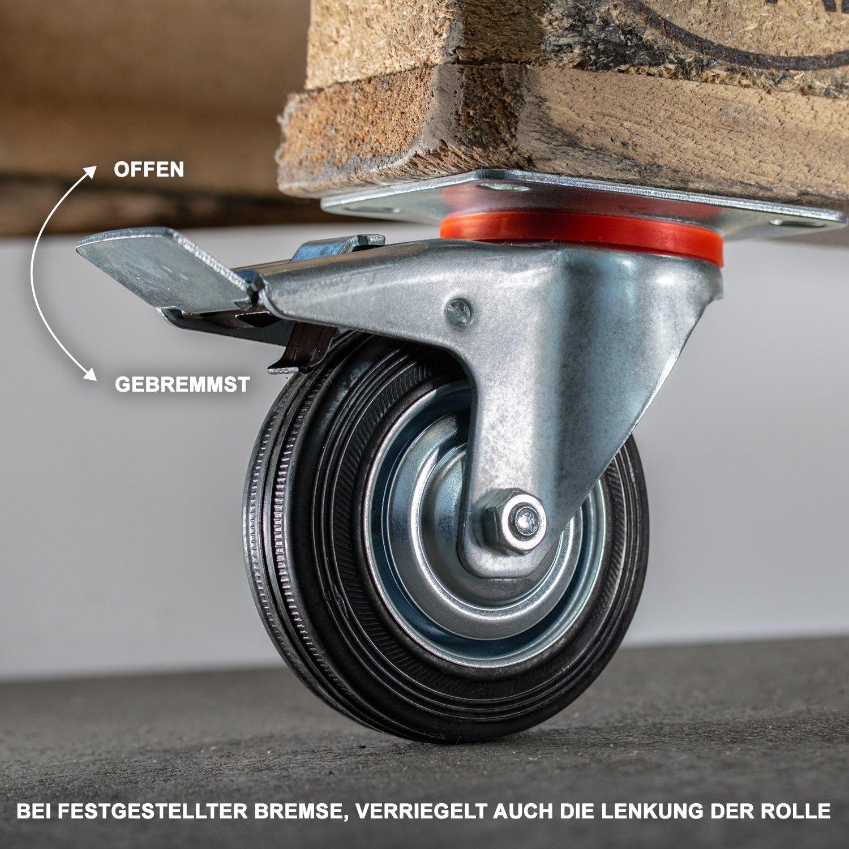Transport & Logistik 4 Stück 80 Mm Sl Gummi Rollen Blue Wheel Transportrollen Lenkrollen Lenkrolle Bequem Zu Kochen