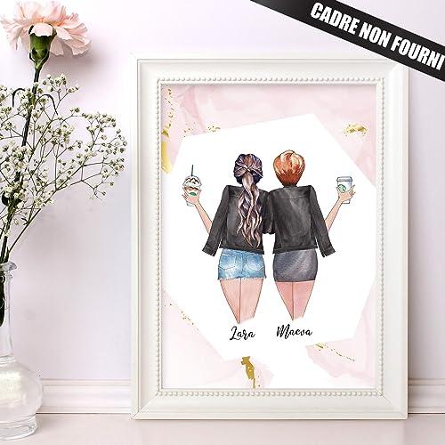 Cadeau Meilleure Amie Portrait Personnalise Best Friends Pour Un Cadeau Original Sur Mesure Theme Rose Et Or Evjf Cadeau Amazon Fr Handmade