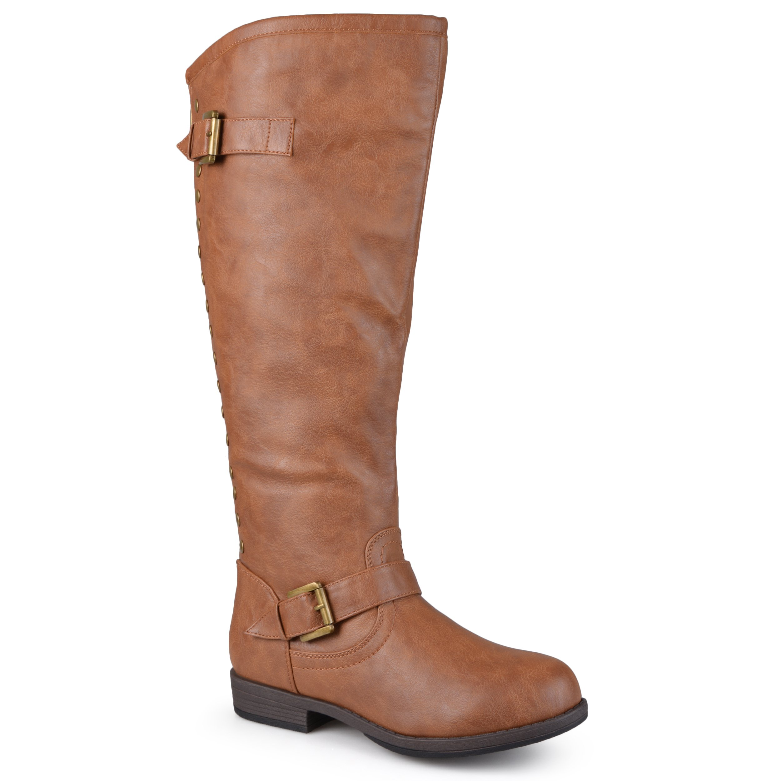 Journee Collection Womens Regular Sized, Wide-Calf and Extra Wide-Calf Studded Knee-High Riding Boots Chestnut, 10 Extra Wide Calf US