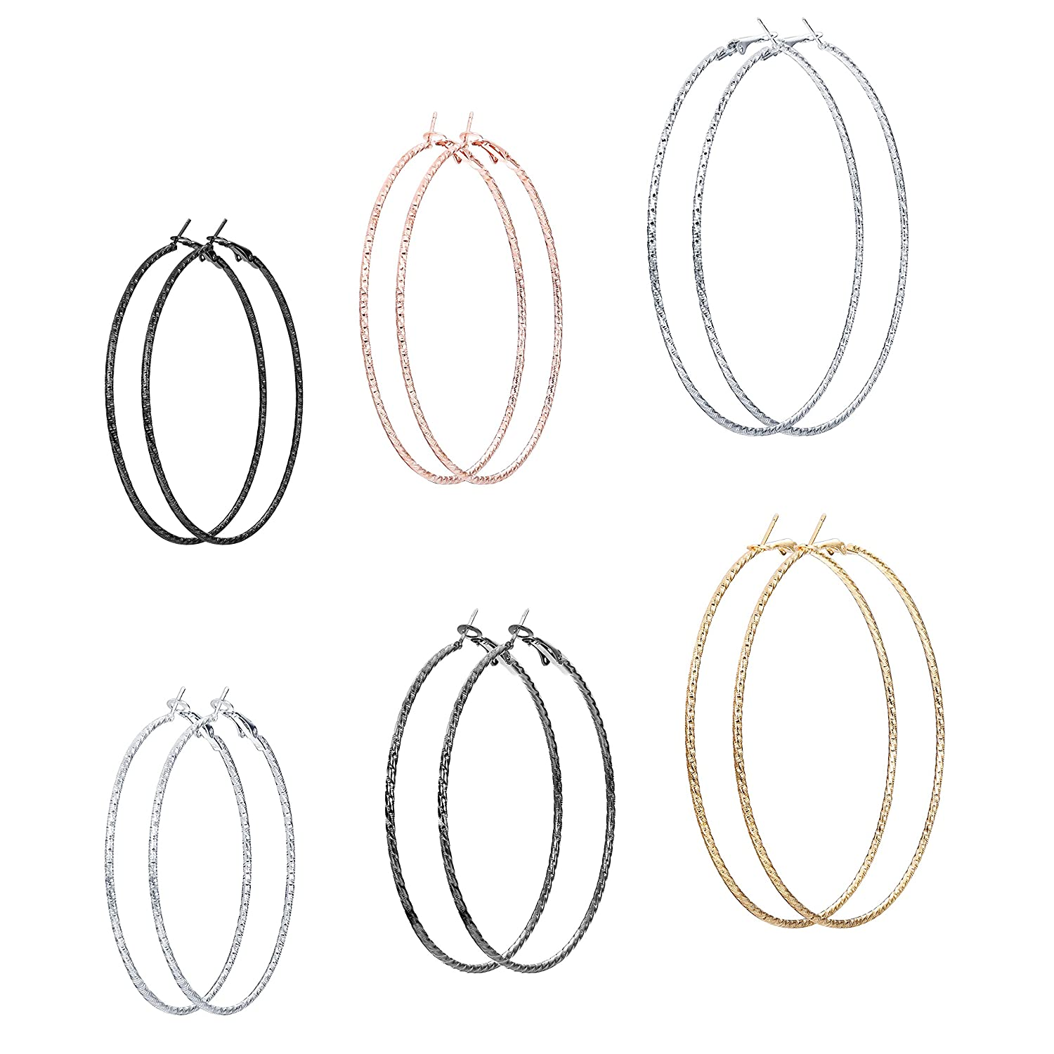 Milacolato 6 Pairs Big Twisted Hoop Earrings for Women Girls Multi-sizes Infinity Endless Earrings QT-L-E00014-6pairs