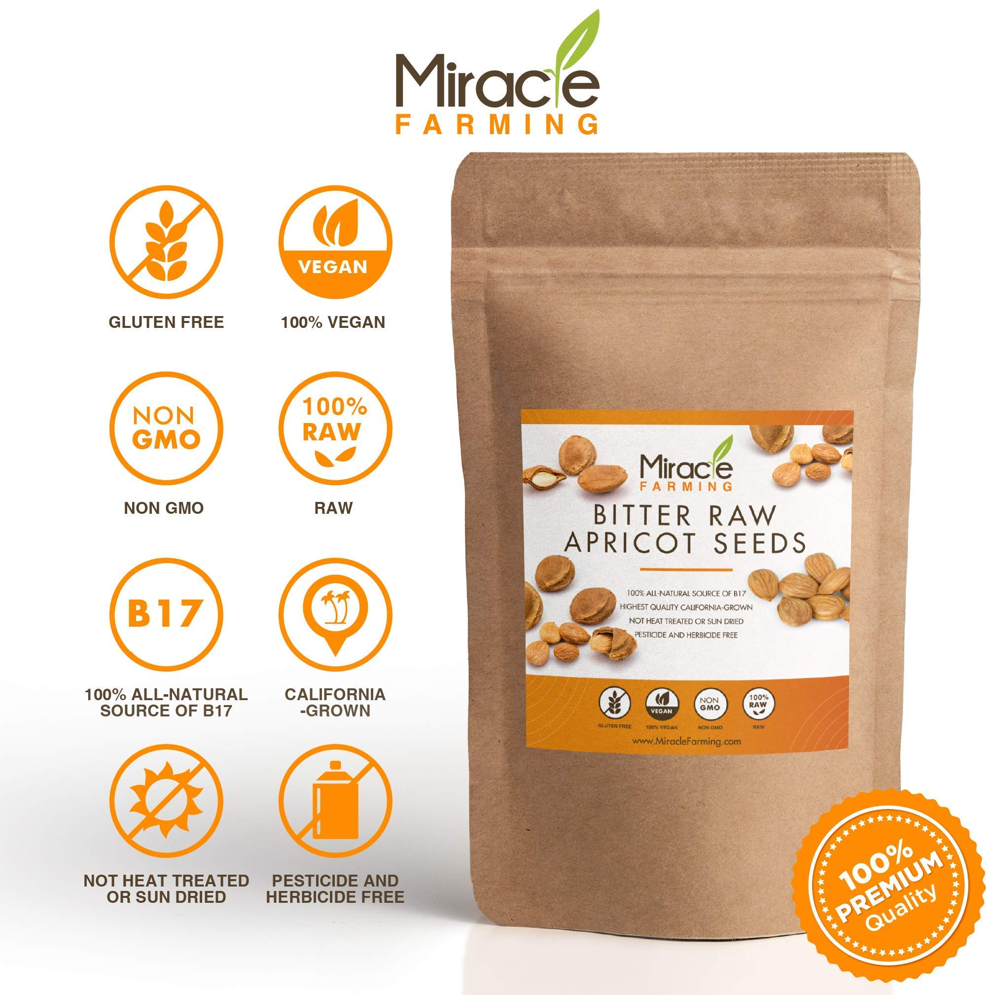 Bitter Apricot Seeds / Kernels (1lb) 16oz, California USA Grown, Pesticide and Herbicide-Free, Non GMO, Vegan, Raw & Large, The Best Natural Source of Vitamin B17, In an Easy Resealable Pouch by Miracle Farming (Image #3)