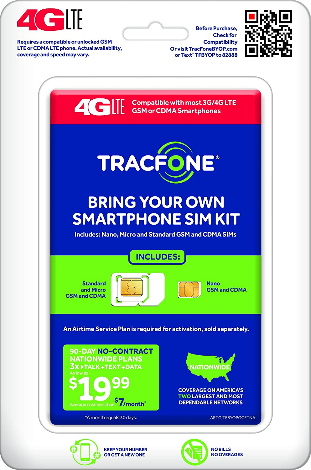 TracFone Bring Your Own Phone SIM Activation Kit – Retail Packaging