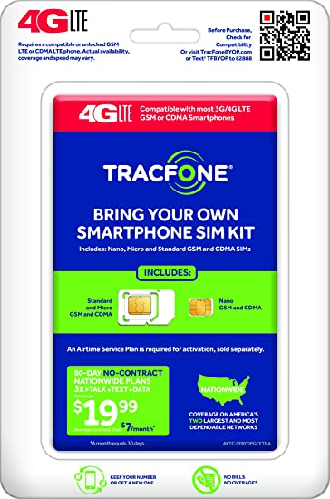 Tracfone Compatible Smartphones >> Amazon Com Tracfone Bring Your Own Phone Sim Activation Kit Cell