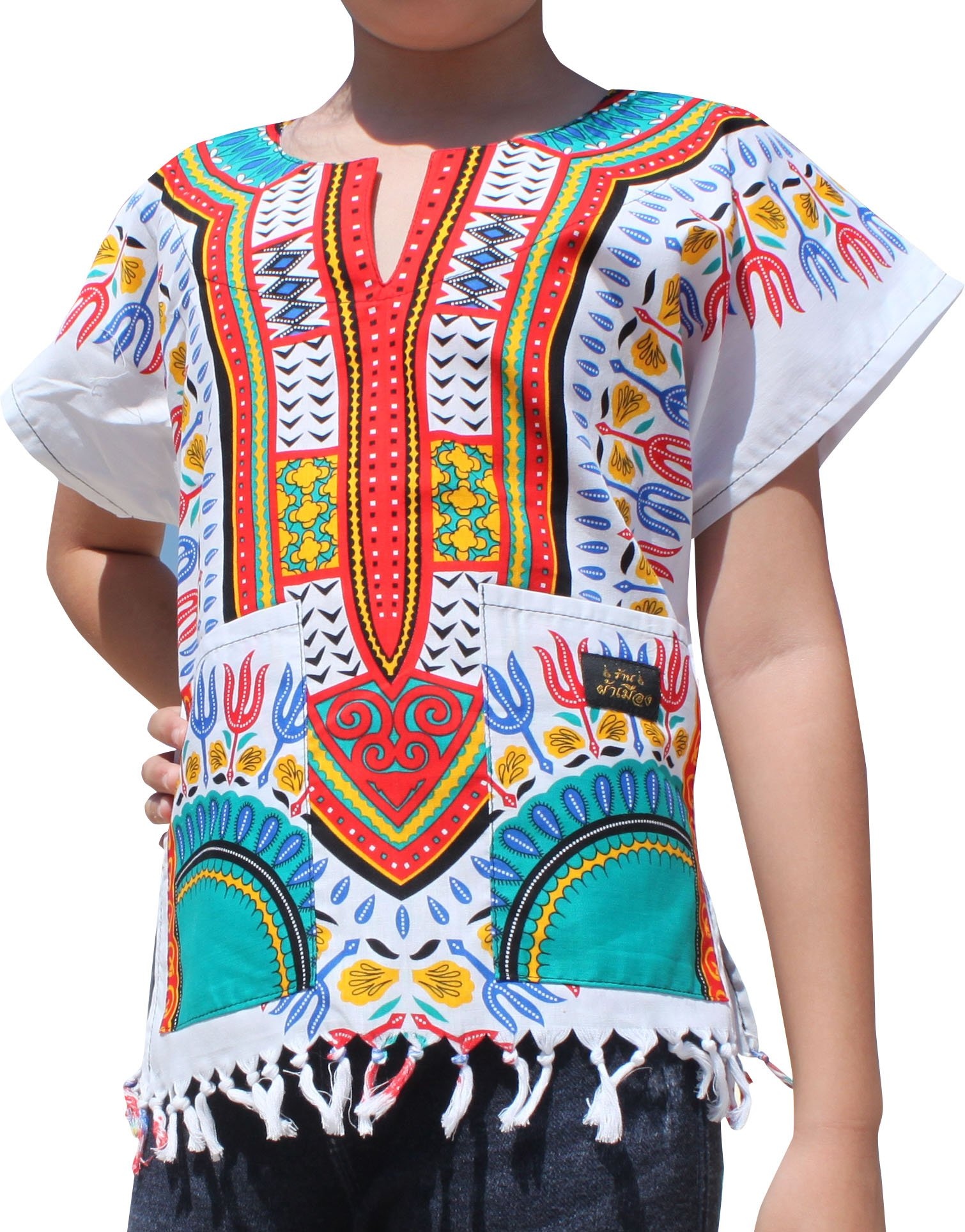 Raan Pah Muang Branded Cotton Childs Dashiki Shirt Tassels and Pockets White Tone, 8-10 Years, White/Red