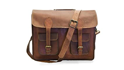 9299a9dde8 Image Unavailable. Image not available for. Colour  Pranjals House Vintage  Handmade Genuine Brown Leather Laptop and Messenger Bag