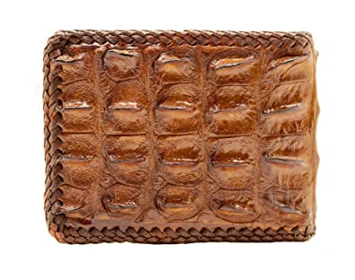4b6b500a1393 D'SHARK 二つ折り財布 メンズ ワニ革 クロコダイル ショートウォレット ブラウン, 鰐革