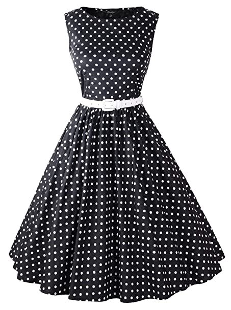 cee919b49ff Penelope Vintage Hepburn Style 1950 s Polka Dot Rockabilly Swing Evening  Pinup Prom Retro Dress 50s Skirt at Amazon Women s Clothing store