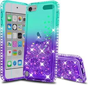 iPod Touch 7 Phone Case, iPod Touch 6 Case, iPod Touch 5 Case with HD Screen Protector for Girls, Atump Glitter Liquid Clear Diamond TPU Phone Case for Apple iPod Touch 7th/ 6th/ 5th Gen Green/Purple