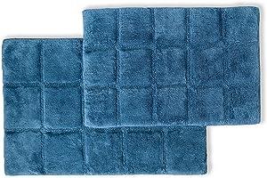Bath Rugs Set Cotton for Bathroom Non Slip Checkered Design, 2 Piece, Sapphire