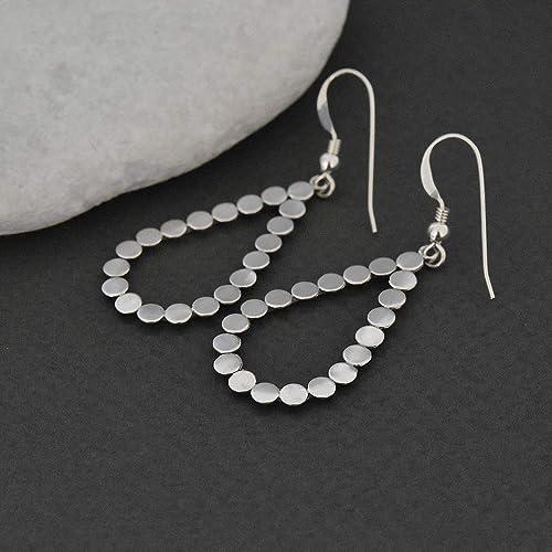 08b401977 Amazon.com: Silver drop earrings, Simple earrings, Minimalist earrings,  Israel jewelry, Gift for woman: Handmade