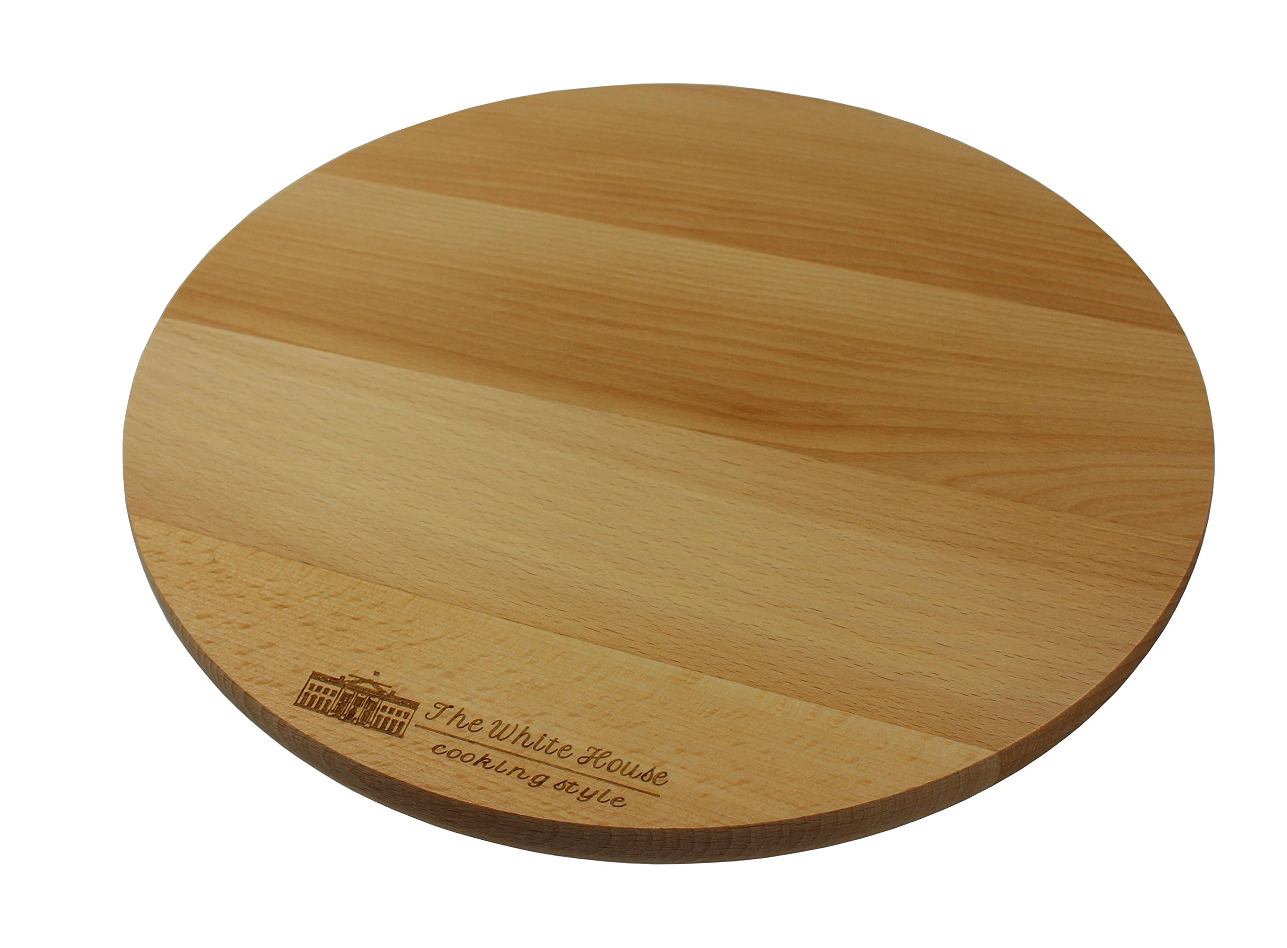 THE WHITE HOUSE cooking style Wooden Rotating Kitchen Board. Turntable Rotating Cake Stand, Pizza Board, Cheese Board, Party Serving Board (11-1/2'')