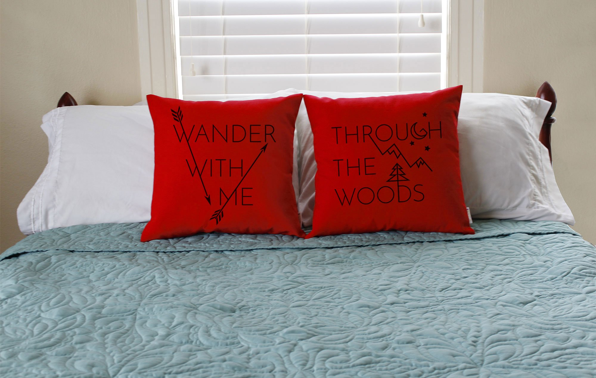 Set of 2 RoomCraft Wander With Me Through the Woods Throw Pillows 20x20 Square Red Indoor-Outdoor Cushions by RoomCraft (Image #3)