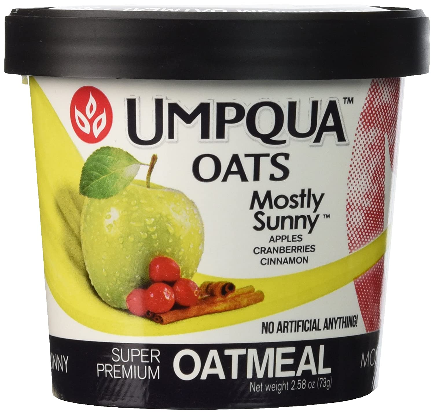 Umpqua Oats Mostly Sunny Apple Cranberry Cinnamon Instant Breakfast Cereal Oatmeal Cups, 2.58 Ounce (12 Pack)