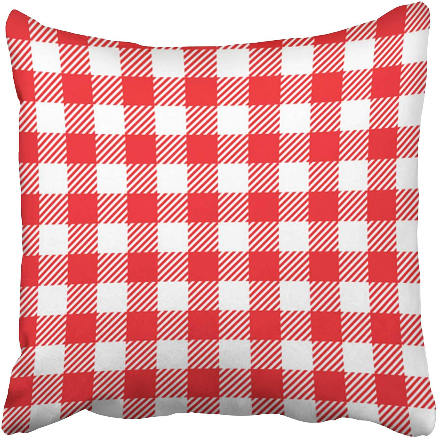 Amazon Com Emvency Decorative Throw Pillow Covers Cases Red Gingham Retro Blue Picnic Plaid Breakfast White Basket Vintage Country 20x20 Inches Pillowcases Case Cover Cushion Two Sided Home Kitchen