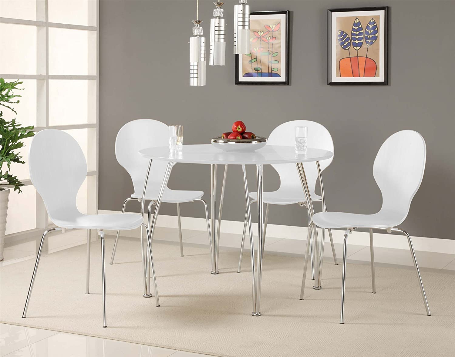 Beautiful Amazon.com   Novogratz Shell Bentwood Modern Round Chairs, White, Set Of 2    Kitchen U0026 Dining Room Furniture