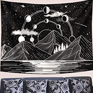 Zussun Mountain Moon Tapestry Stars River Black and White Art Tapestry Wall Hanging Home Decor (35