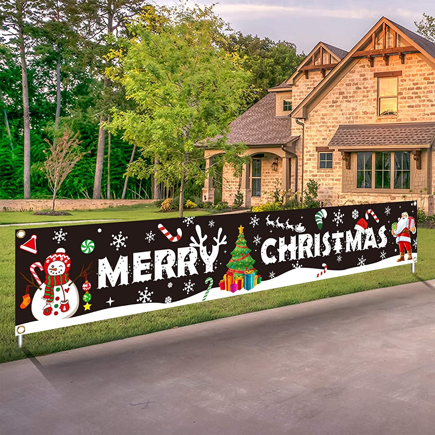Large Merry Christmas Banner Xmas Decoration Snowman Christmas Tree Hanging Huge Santa Claus Sign Holiday Party Supplies Home Decor for Outdoor,Indoor,Yard,Garden,Porch,Lawn
