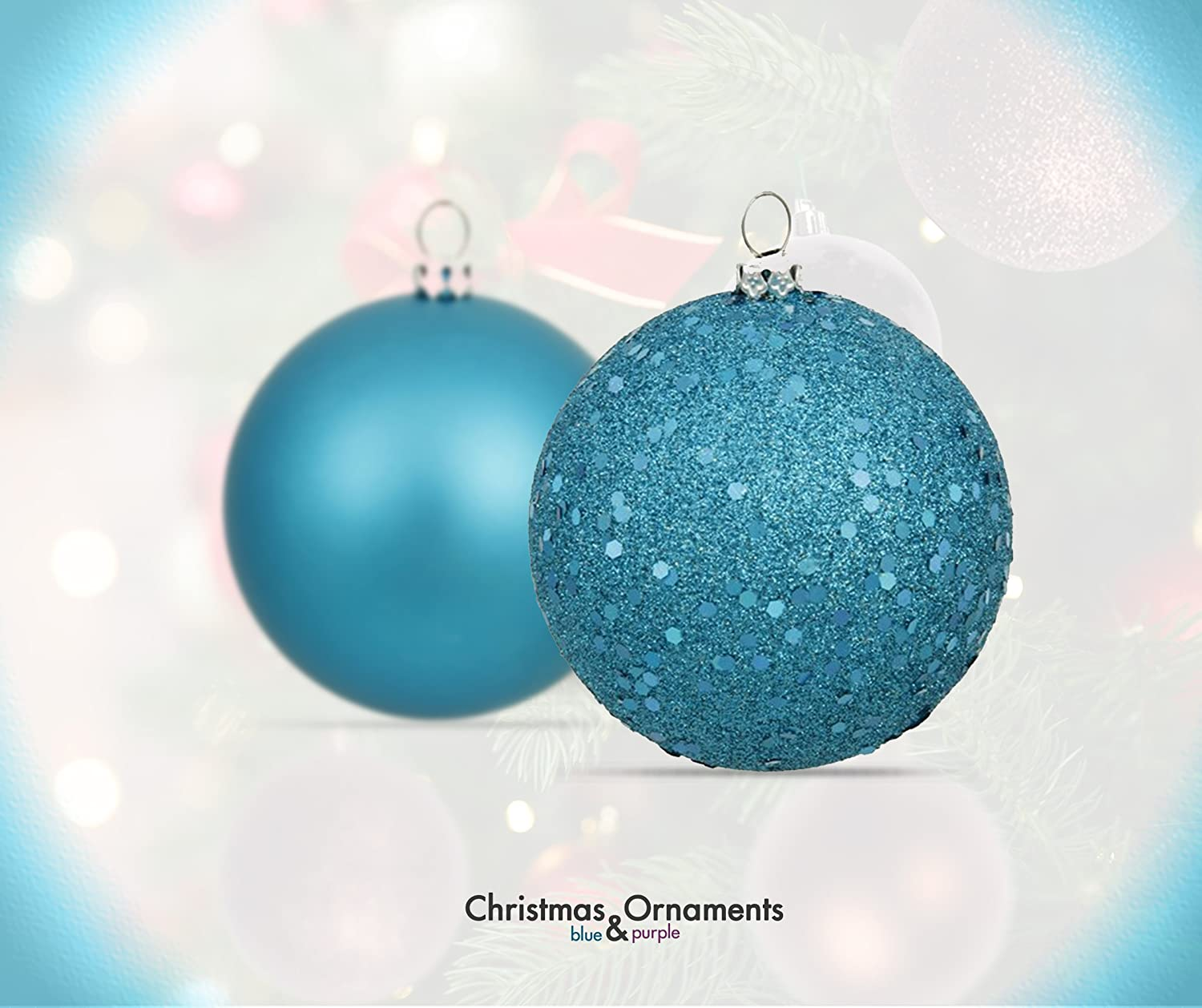 amazoncom r n d toys 100 purple and blue christmas ornament balls shatterproof 100 metal ornament hooks hanging ornaments for indooroutdoor christmas - Teal Christmas Ornaments