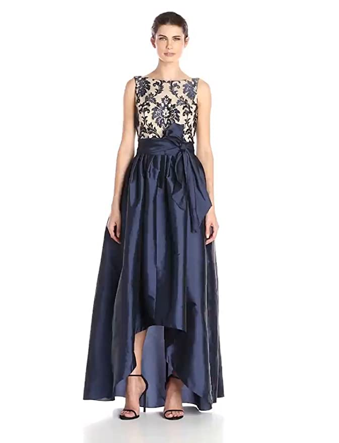 09d4cc0d1f7 Amazon.com  Adrianna Papell Women s High Low Taffeta Ball Gown with  Embroidered Lace Bodice  Clothing