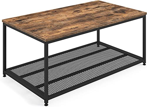 Ballucci Industrial Coffee Table with Storage Shelf, Wood Furniture Accent with Matted Metal Frame, Sturdy Metal Mesh, for Living Room, Easy Assembly, Rustic Brown
