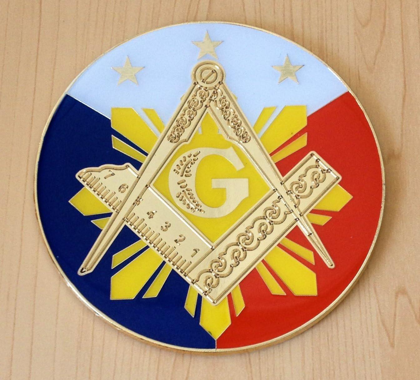 Mason Masonic Flag Emblem Screw On Car License Plate Decal Badge