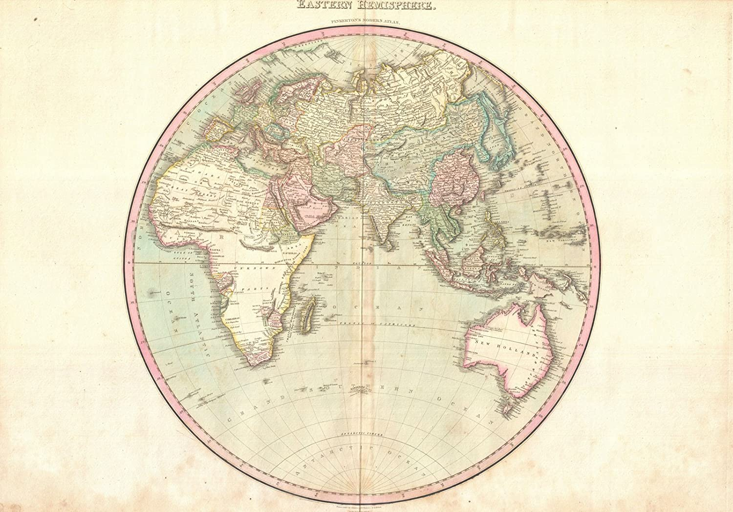 Amazon.com: Historical 1818 Pinkerton Map of The Eastern Hemisphere ...