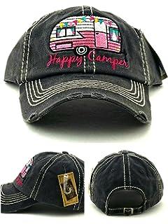 15e8efb69c2d9 Distressed Vintage Style Happy Camper Baseball Cap Hat Adjustable