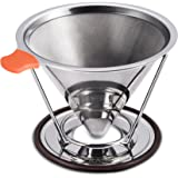 E-PRANCE Pour Over Coffee Filter, Reusable Coffee Cone Dripper Paperless, Stainless Steel Double Mesh Pour Over Coffee Maker with Separate Stand for 1-4 cups