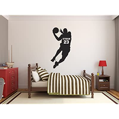 Personalized Basketball Name Wall Decals - Boy Kids Room Decor - Nursery Wall Decals - Player Wall Decor Sticker: Baby