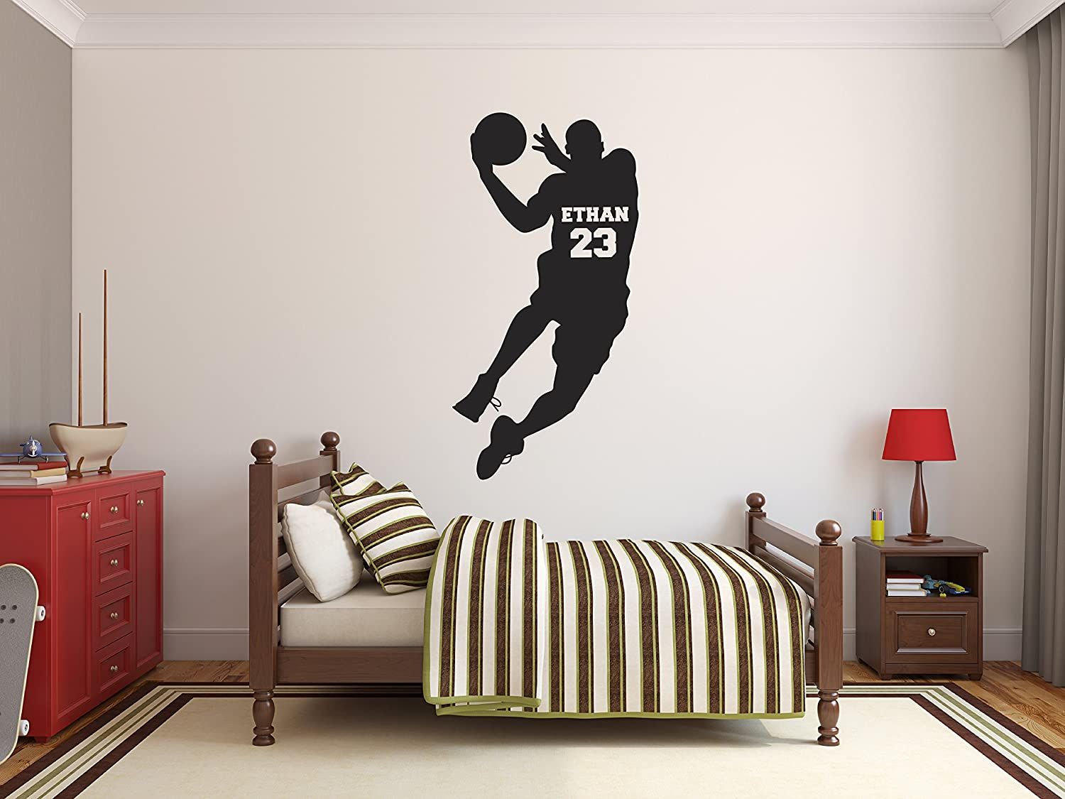 Personalized Basketball Name Wall Decals - Boy Kids Room Decor - Nursery Wall Decals - Player Wall Decor Sticker